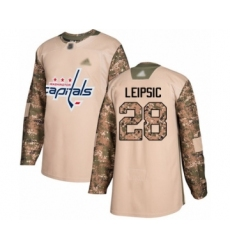 Men's Washington Capitals #28 Brendan Leipsic Authentic Camo Veterans Day Practice Hockey Jersey