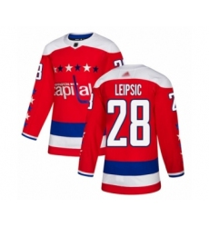Men's Washington Capitals #28 Brendan Leipsic Authentic Red Alternate Hockey Jersey