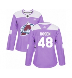 Women's Colorado Avalanche #48 Calle Rosen Authentic Purple Fights Cancer Practice Hockey Jersey
