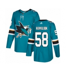 Men's San Jose Sharks #58 Dillon Hamaliuk Authentic Teal Green Home Hockey Jersey