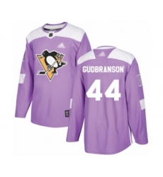 Men's Pittsburgh Penguins #44 Erik Gudbranson Authentic Purple Fights Cancer Practice Hockey Jersey