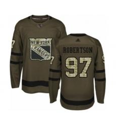 Men's New York Rangers #97 Matthew Robertson Authentic Green Salute to Service Hockey Jersey