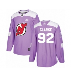 Men's New Jersey Devils #92 Graeme Clarke Authentic Purple Fights Cancer Practice Hockey Jersey
