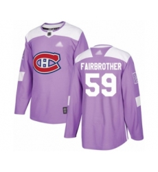 Men's Montreal Canadiens #59 Gianni Fairbrother Authentic Purple Fights Cancer Practice Hockey Jersey