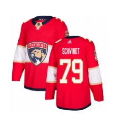 Men's Florida Panthers #79 Cole Schwindt Authentic Red Home Hockey Jersey