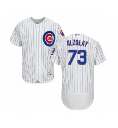 Men's Chicago Cubs #73 Adbert Alzolay White Home Flex Base Authentic Collection Baseball Player Jersey