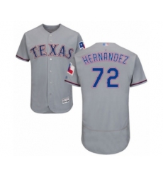 Men's Texas Rangers #72 Jonathan Hernandez Grey Road Flex Base Authentic Collection Baseball Player Jersey