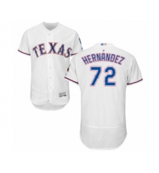 Men's Texas Rangers #72 Jonathan Hernandez White Home Flex Base Authentic Collection Baseball Player Jersey