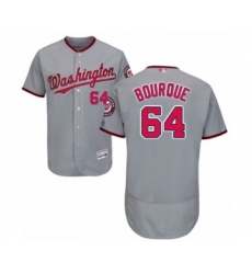 Men's Washington Nationals #64 James Bourque Grey Road Flex Base Authentic Collection Baseball Player Jersey