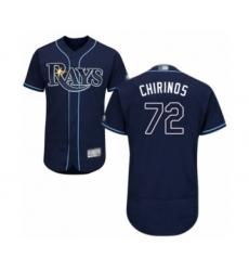 Men's Tampa Bay Rays #72 Yonny Chirinos Navy Blue Alternate Flex Base Authentic Collection Baseball Player Jersey