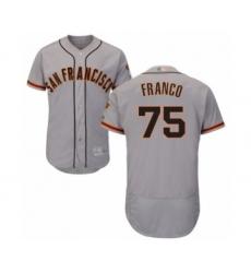 Men's San Francisco Giants #75 Enderson Franco Grey Road Flex Base Authentic Collection Baseball Player Jersey