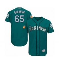 Men's Seattle Mariners #65 Brandon Brennan Teal Green Alternate Flex Base Authentic Collection Baseball Player Jersey