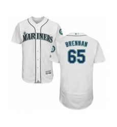 Men's Seattle Mariners #65 Brandon Brennan White Home Flex Base Authentic Collection Baseball Player Jersey