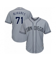 Men's San Diego Padres #71 Edward Olivares Authentic Grey Road Cool Base Baseball Player Jersey