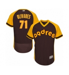 Men's San Diego Padres #71 Edward Olivares Brown Alternate Cooperstown Authentic Collection Flex Base Baseball Player Jersey