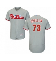 Men's Philadelphia Phillies #73 Deivy Grullon Grey Road Flex Base Authentic Collection Baseball Player Jersey