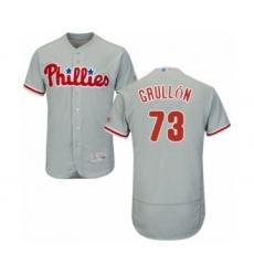 Men's Philadelphia Phillies #73 Deivy Grullon Grey Road Flex Base Authentic Collection Baseball Player Jersey