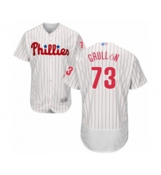 Men's Philadelphia Phillies #73 Deivy Grullon White Home Flex Base Authentic Collection Baseball Player Jersey