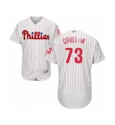 Men's Philadelphia Phillies #73 Deivy Grullon White Home Flex Base Authentic Collection Baseball Player Jersey