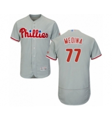 Men's Philadelphia Phillies #77 Adonis Medina Grey Road Flex Base Authentic Collection Baseball Player Jersey