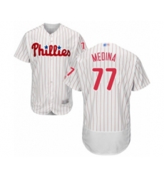 Men's Philadelphia Phillies #77 Adonis Medina White Home Flex Base Authentic Collection Baseball Player Jersey