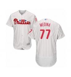 Men's Philadelphia Phillies #77 Adonis Medina White Home Flex Base Authentic Collection Baseball Player Jersey