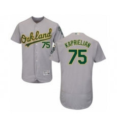 Men's Oakland Athletics #75 James Kaprielian Grey Road Flex Base Authentic Collection Baseball Player Jersey