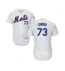 Men's New York Mets #73 Daniel Zamora White Home Flex Base Authentic Collection Baseball Player Jersey