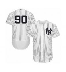 Men's New York Yankees #90 Thairo Estrada White Home Flex Base Authentic Collection Baseball Player Jersey