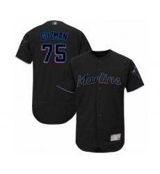 Men's Miami Marlins #75 Jorge Guzman Black Alternate Flex Base Authentic Collection Baseball Player Jersey