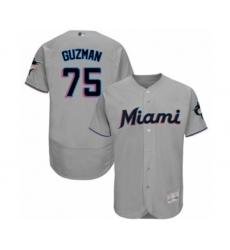 Men's Miami Marlins #75 Jorge Guzman Grey Road Flex Base Authentic Collection Baseball Player Jersey