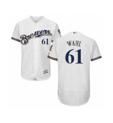 Men's Milwaukee Brewers #61 Bobby Wahl White Alternate Flex Base Authentic Collection Baseball Player Jersey