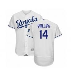 Men's Kansas City Royals #14 Brett Phillips White Home Flex Base Authentic Baseball Player Jersey