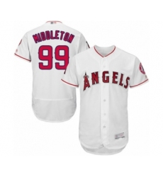 Men's Los Angeles Angels of Anaheim #99 Keynan Middleton White Home Flex Base Authentic Collection Baseball Player Jersey