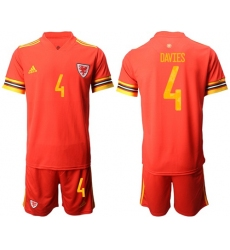 Wales #4 Davies Red Home Soccer Club Jersey