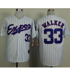 Mitchell And Ness 1982 Expos #33 Larry Walker White(Black Strip) Throwback Stitched Baseball Jersey