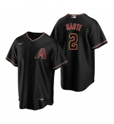 Men's Nike Arizona Diamondbacks #2 Starling Marte Black Alternate Stitched Baseball Jersey