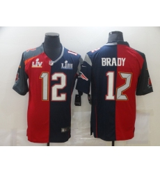 Men's Tampa Bay Buccaneers #12 Tom Brady Blue Red Bowl LV Bowl LIII Limited Split Fashion Football Jersey
