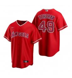 Men's Nike Los Angeles Angels #49 Julio Teheran Red Alternate Stitched Baseball Jersey