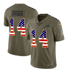 Nike Buffalo Bills #14 Stefon Diggs Olive USA Flag Men's Stitched NFL Limited 2017 Salute To Service Jersey