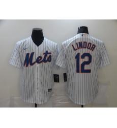 Men's Nike New York Mets #12 Francisco Lindor White stripes Jersey
