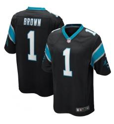 Men's Carolina Panthers #1 Derrick Brown Nike Black 2020 NFL Draft First Round Pick Game Jersey.webp