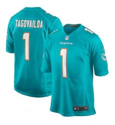 Men's Miami Dolphins #1 Tua Tagovailoa Nike Aqua 2020 NFL Draft First Round Pick Game Jersey