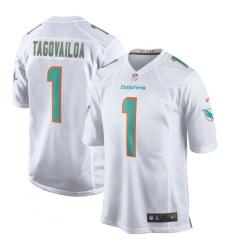 Men's Miami Dolphins #1 Tua Tagovailoa Nike White 2020 NFL Draft First Round Pick Game Jersey