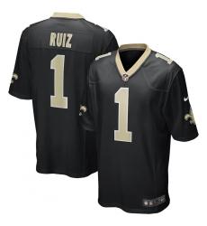 Men's New Orleans Saints #1 Cesar Ruiz Nike Black 2020 NFL Draft First Round Pick Game Jersey.webp