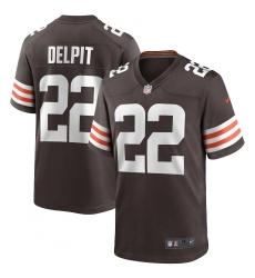 Men's Cleveland Browns #22 Grant Delpit Nike Brown Player Game Jersey.webp