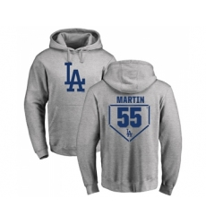 Baseball Los Angeles Dodgers #55 Russell Martin Gray RBI Pullover Hoodie