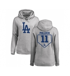 Baseball Women's Los Angeles Dodgers #11 A. J. Pollock Gray RBI Pullover Hoodie