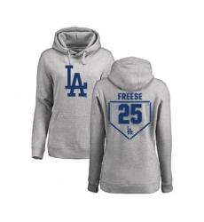 Baseball Women's Los Angeles Dodgers #25 David Freese Gray RBI Pullover Hoodie