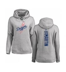 Baseball Women's Los Angeles Dodgers #55 Russell Martin Ash Backer Pullover Hoodie